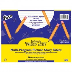 "Pacon Multi-Program Picture Story Papers, D'Nealian (2 & 3), 12"" x 9"", 1/2"" long, Ream"