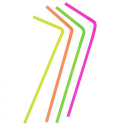 "Neon-Colored 10"" Super Flexible Straws, 80 ct"