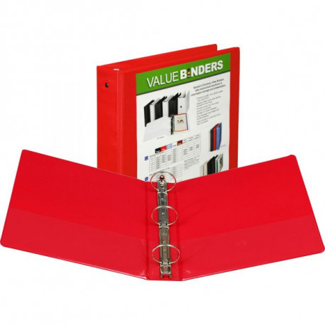 """1"""" Insertable View Ring Binder, Red"""