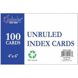 "White Index Cards, Unruled 4"" x 6"", 100 Ct"