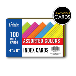 "Colored Index Cards 4""x 6"" Ruled"
