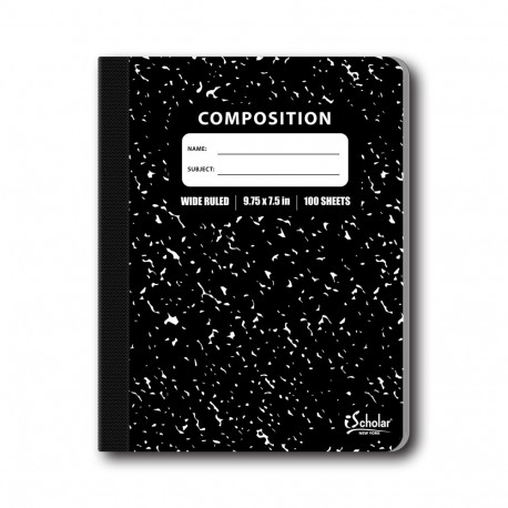 Wide Rule Composition Book, Marble Cover, 100 sheets