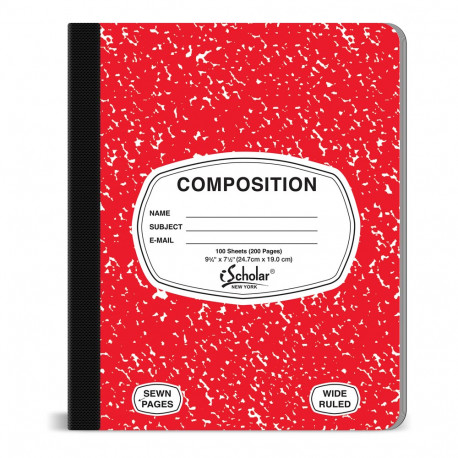 Composition Book, Red Cover 100 sheets
