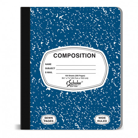 Composition Book, Blue Cover 100 sheet
