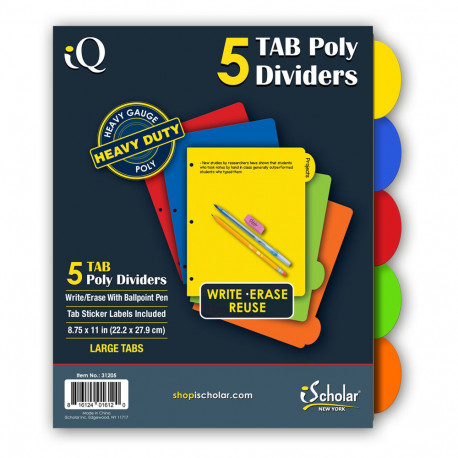 IQ Poly Index Dividers 5 Count