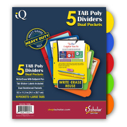 IQ Poly Index Dividers With Pockets 5 Tab