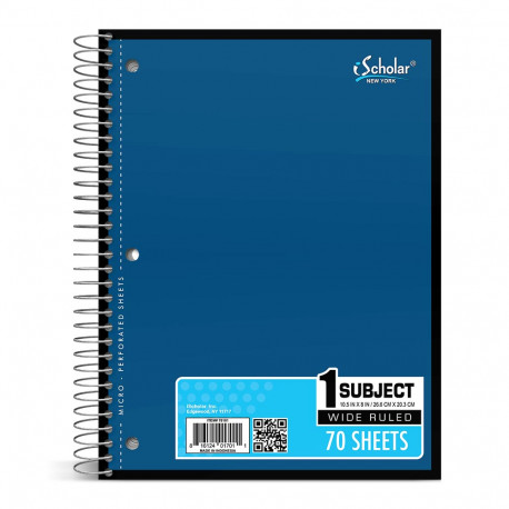 Wide Rule Sprial Notebook, 70 sheets, Blue