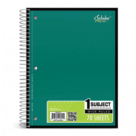 Wide Rule Sprial Notebook, 70 sheets, Green