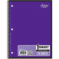 Wide Rule Sprial Notebook, 70 sheets, Purple