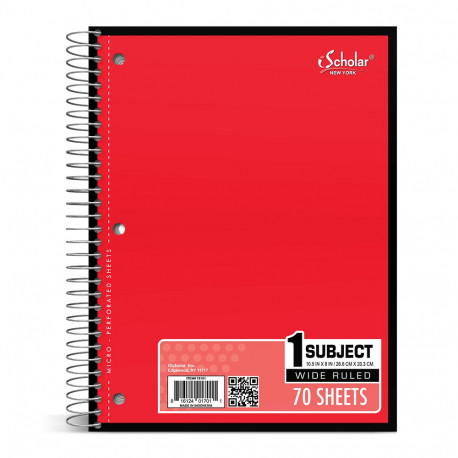 Wide Rule Sprial Notebook, 70 sheets, Red