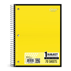 Spiral Notebook Wide Rule Yellow Cover 70 Sheets