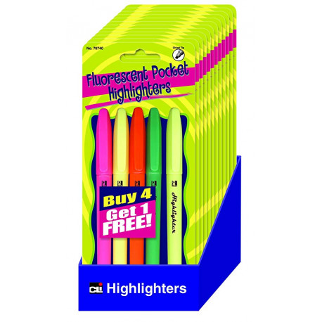 Pocket Style Highlighters 5 Count