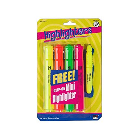 Barrel Style Highlighters 4 count