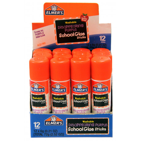 Elmer's Washable Disappearing purple Glue Stick, 12 Pack