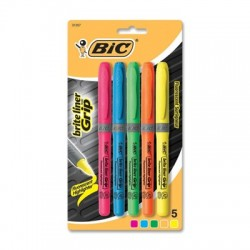 Brite Liner Grip Highlighter Assorted 5pk