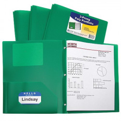Green 2 Pocket & Prong Poly Folder