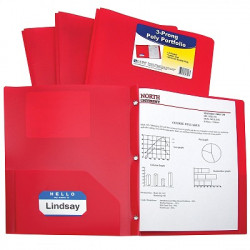 2 Pocket & Prong Poly Folder Red