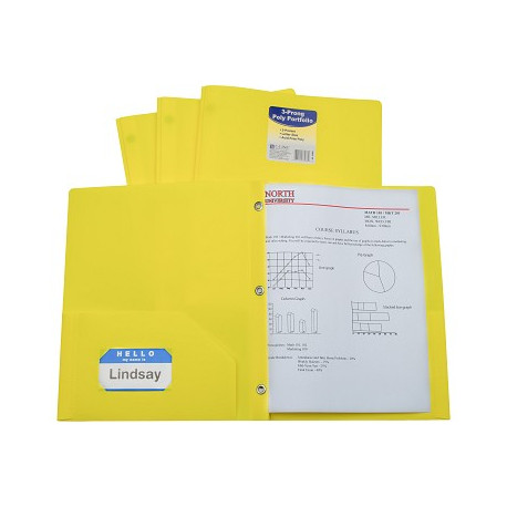Yellow 2 Pocket & Prong Poly Folder