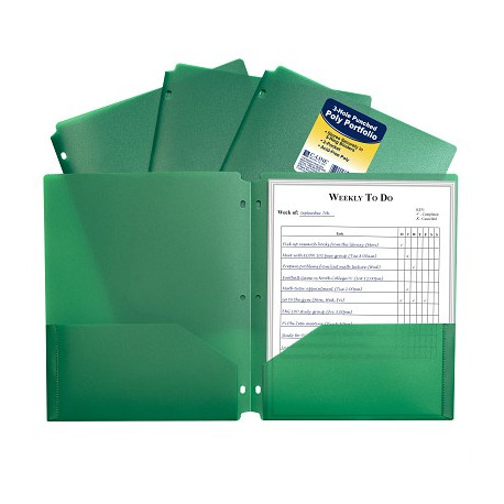 Poly 2-pocket Folder, 3 hole punched Green