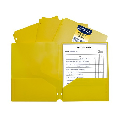 Poly 2-pocket Folder, 3 hole punched Yellow