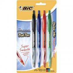Bic Atlantis Retractable Ball Point, 4 Color set, black, blue, red and green