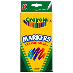 Crayola Markers Classic Colors, Fine Tip, 8 ct