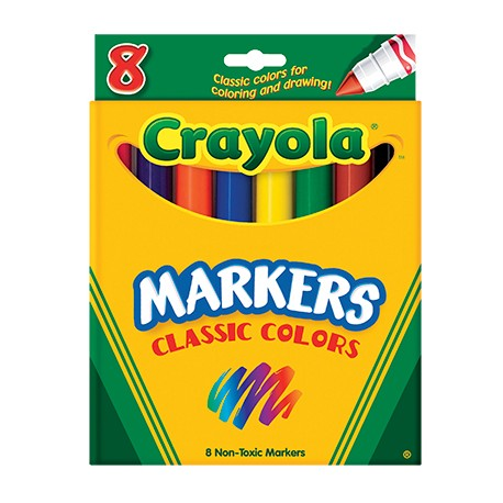 Crayola Markers Classic Colors, Conical Tip, 8 ct