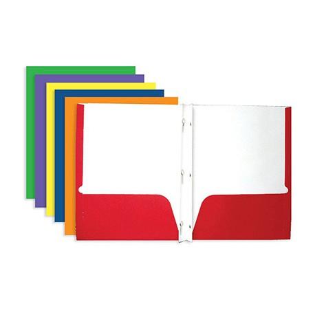 2 Pocket Portfolio with Prongs, Red