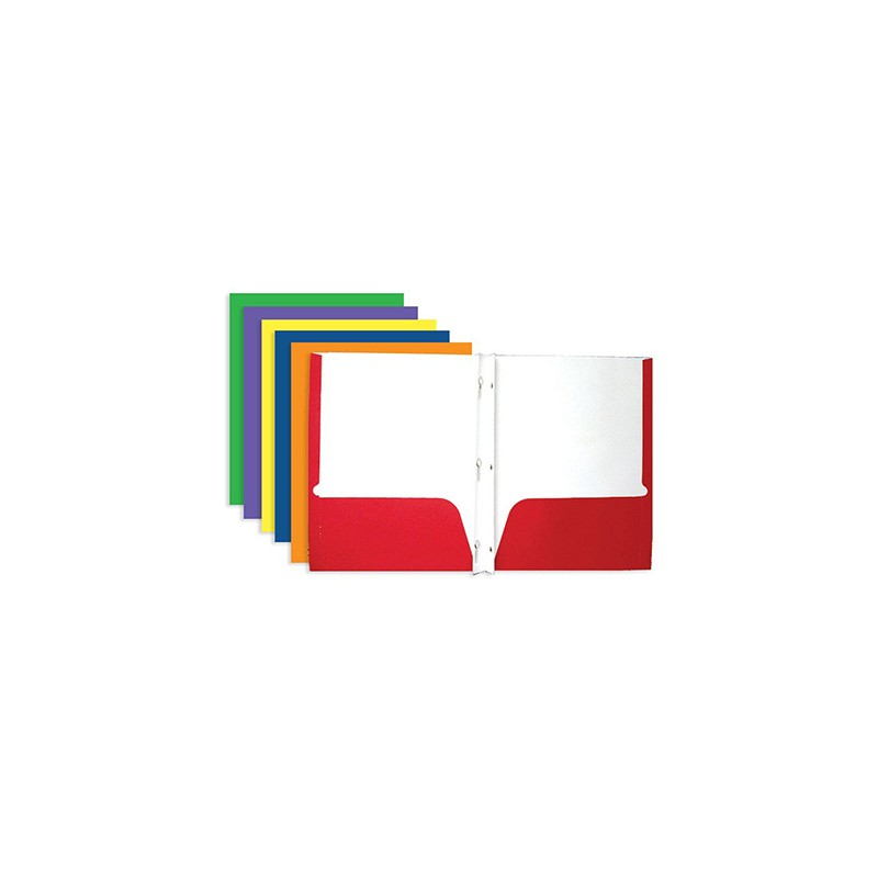 2 Pocket Folder With Prongs, Red