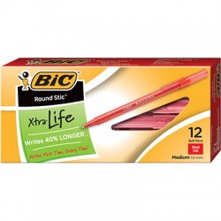 Bic Round Stick Pens, Dozen, Red
