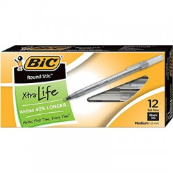 Bic Round Stick Pens, Dozen, Black