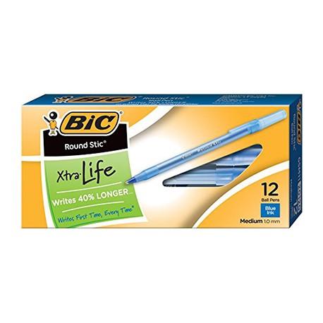 Bic Round Stick Pens, Dozen, Blue
