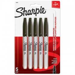 Sharpie Fine Point Markers, Black 5 Ct