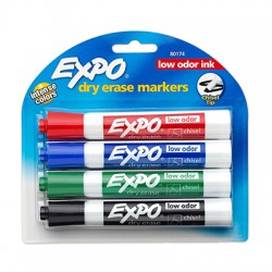 Expo Low-Odor Dry Erase Markers, Chisel Tip, 4-Color Set