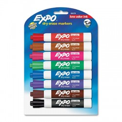 Expo Low-Odor Dry Erase Markers, Chisel Tip, 8-Color Set