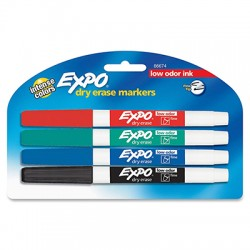 Expo Low Odor Dry Erase Markers Fine Tip 4 colors