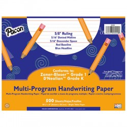 "Pacon┬« Multi-Program Handwriting Papers, DÔÇÖNealian (K), 10 1/2"" x 8"", 5/8"" long, Ream"