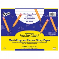 "Pacon Multi-Program Picture Story Papers, D'Nealian (K), 12"" x 9"", 5/8"" long, Ream"