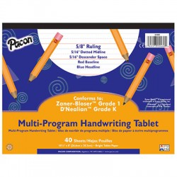 "Pacon┬« Multi-Program Handwriting Papers, DÔÇÖNealian (K), 10 1/2"" x 8"", 5/8"" long, Tablet"