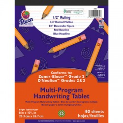 "Pacon Multi-Program Handwriting Papers, D'Nealian (2 & 3), 8"" x 10 1/2"", 1/2"" short, Tablet"