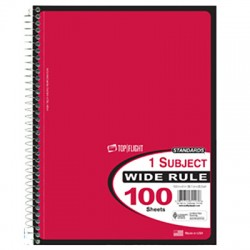 Spiral Notebook, Wide Rule, 100 sheets