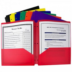 Poly 2-Pocket Folder, 3-Hole Punched