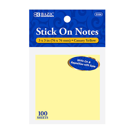 "3"" x 3"" Yellow Stick On Notes, 100 ct."