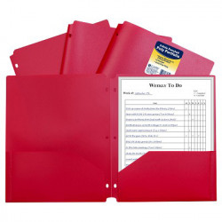 Poly 2-Pocket Folder, 3-Hole Punched, Red