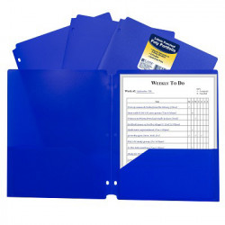 Poly 2-Pocket Folder, 3-Hole Punched, Blue