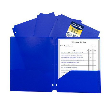Poly 2-Pocket Folder, 3-Hole Punched, Blue