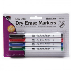 Dry Erase Markers 4 Color Set, Fine Point
