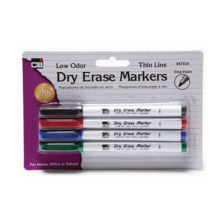 Dry Erase Markers 4 Color Set, Fine Point