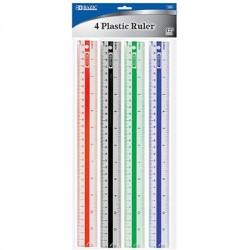 """Plastic Ruler, 12"""" 4 ct."""