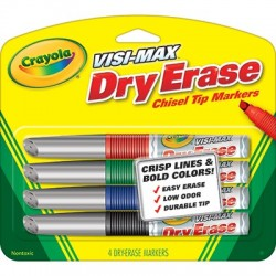 Visi-Max Dry Erase Markers, 4 ct. Broad